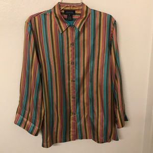 Jones New York Signature Silk Rainbow Blouse Top